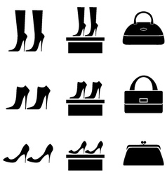 Black icons female bags and shoes vector