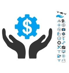 Maintenance price icon with copter tools bonus vector