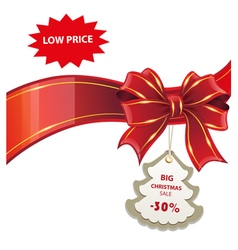 Christmas sale red banner vector