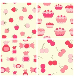 Sweets and fruits seamless backgrounds set vector