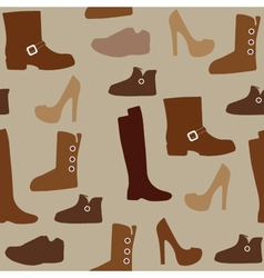 Seamless pattern with different kind of shoes vector