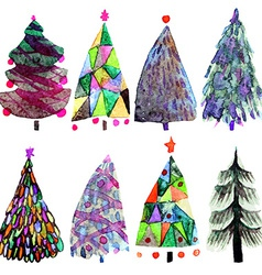 Watercolor christmas tree set isolated on a white vector