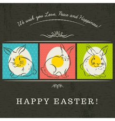 Easter card with rabbits and eggs vector