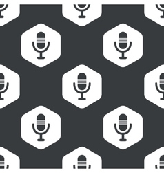 Black hexagon microphone pattern vector