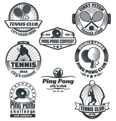 Tennis and ping-pong emblems vector