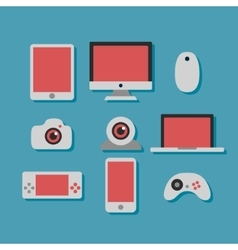 Technology and devices icons set vector