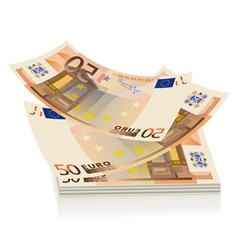 flying euro bills the concept of success vector image