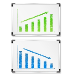 Whiteboards with graphs vector
