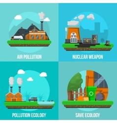 Environmental pollution colored icon set vector