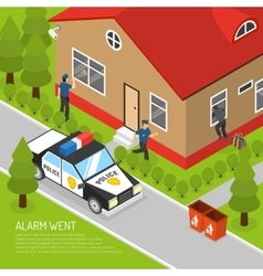 Home security alarm response isometric vector
