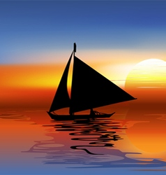 A tropical landscape sunset with a boat vector