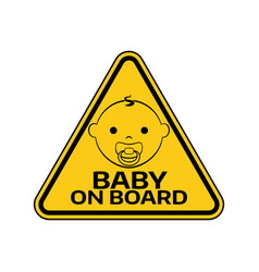 Baby on board sign with child boy smiling face vector