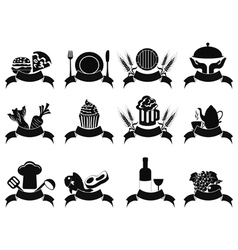 Black food banner icons set vector