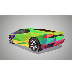 Colorful sport car on green background - polygonal vector