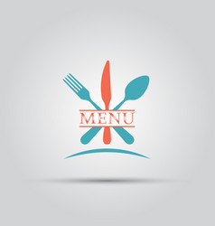 cutlery isolated colored menu logo vector image