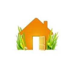 Eco home with open door vector image vector image