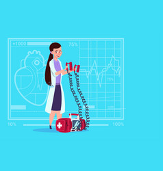 Female doctor hold defibrillator medical clinics vector