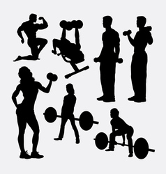 Fitness male and female activity silhouette vector