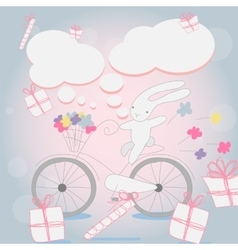 Funny little white bunny bicycle vector