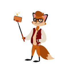 Funny picture fox photographer mamal person take vector