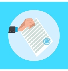 Hand hold document cartoon vector