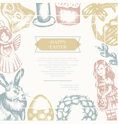 happy easter - color hand drawn composite flyer vector image