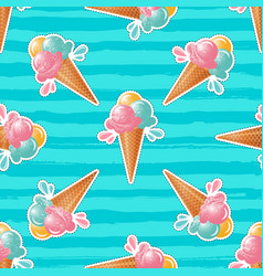 ice cream pattern turquoise background 80s pop vector image vector image