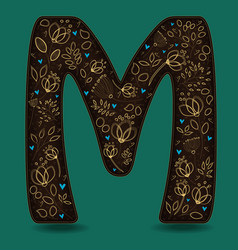 letter m with golden floral decor vector image