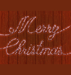merry christmas a wooden wall with a garland vector image vector image