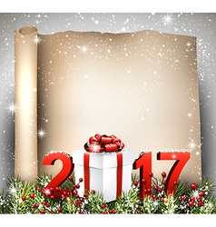 New Year 2017 scroll background vector image
