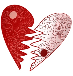 Red valentines day broken heart drawn zentangle vector