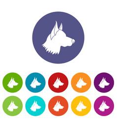 shepherd dog set icons vector image