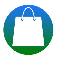 shopping bag white icon in vector image
