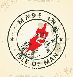 Stamp with map flag of Isle of Man vector image vector image