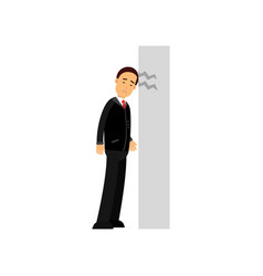 stressed businessman character banging his head vector image