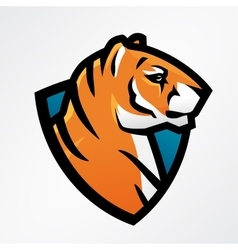 Tiger shield sport mascot template football or vector