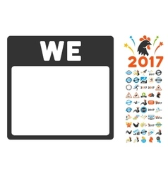 Wednesday calendar page flat icon with vector