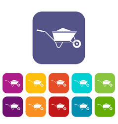 Wheelbarrow with sand icons set vector