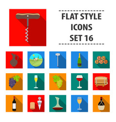 wine production set icons in flat style big vector image vector image