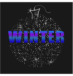Winter word neon letters with christmas ball on vector