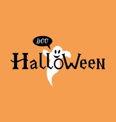 word halloween with ghost vector image vector image
