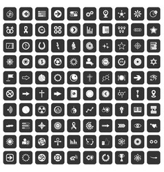 100 graphic elements icons set black vector