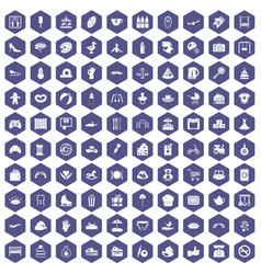 100 mother and child icons hexagon purple vector
