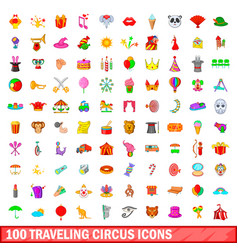 100 traveling circus icons set cartoon style vector