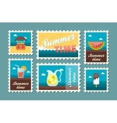 Bar beach stamp set summer vacation vector