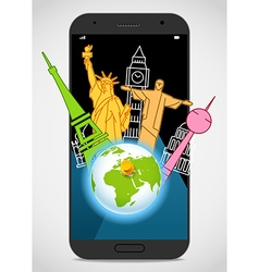 Modern smartphone with the Earth and sights vector image
