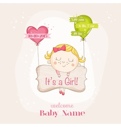 Baby girl with balloons - baby shower vector