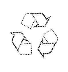 Recycle logo concept  black dashed icon on vector