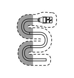 Usb cable connector isolated icon vector