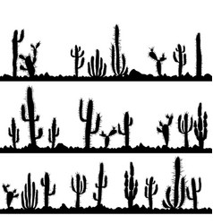 Landscapes with silhouettes of cactuses and stones vector